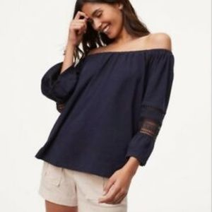 ANN TAYLOR OFF THE SHOULDERS FLARE SLEEVE TOP L